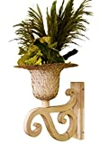 Ornate White Iron Scroll Wall Mounted Planter | Flower Urn Bracket Outdoor Metal