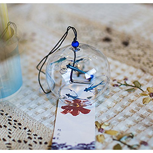 Japanese Wind Bell Wind Chimes Handmade Glass Furin-Bluefish ()