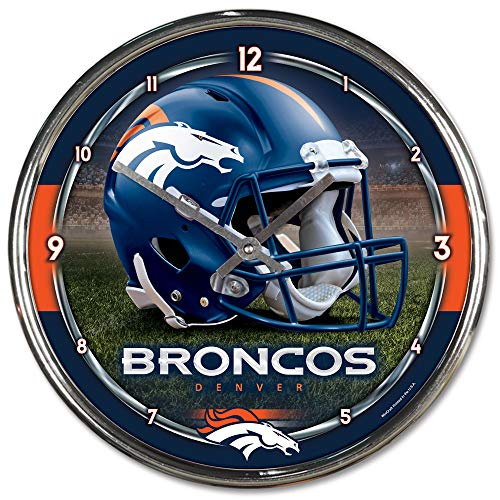 Nfl Football Team Chrome Wall Clock , Denver Broncos , 12-Inch