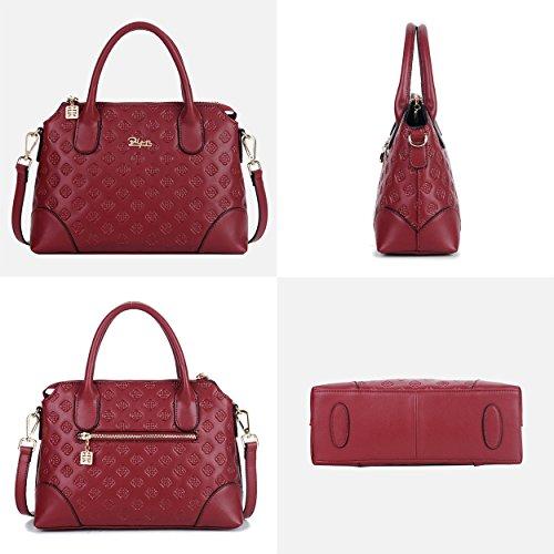 Women Satchel Leather Handbag Top Bags Bag Red Handle BOYATU Shoulder Dates for Ladies StHxHwz