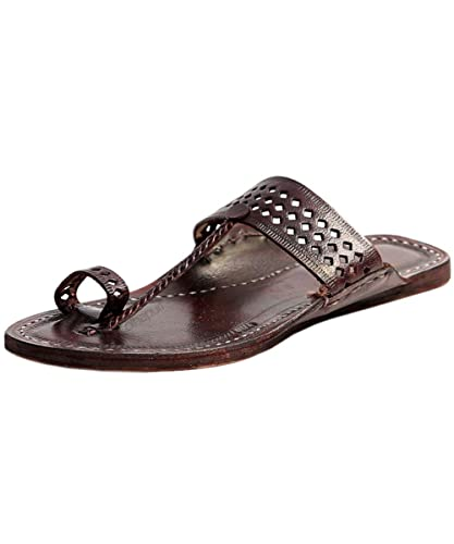 307bc3a5386e57 eKolhapuri Handmade Authentic Genuine Leather Awesome Looking Ladies flip  Flop Sandal for Women Size US-