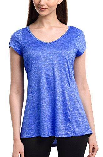 (Long Athletic Tops for Women Active Short Sleeve V Neck Workout T-Shirt Royal Blue L )