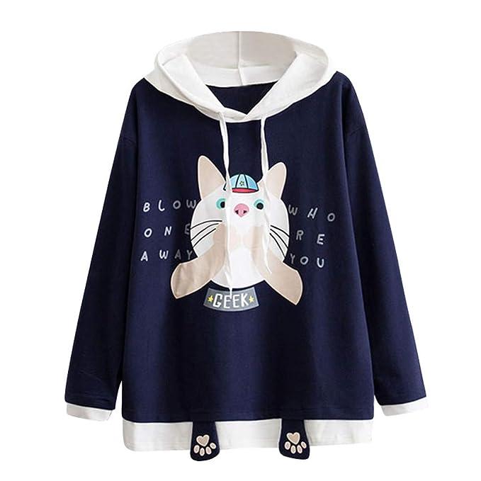 Luckycat Sudadera Mujer Capucha, Sudaderas con Capucha Manga Larga Sudaderas Mujer Casual Kawaii Animal Blusa Tops 2018 Otoño Invierno Hoodie Sweatshirt ...