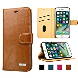 labato iPhone 7 Plus Wallet Case, iPhone 8 Plus Leather Case, Genuine Leather Stand Folio Flip Magnetic Case Cover Card Holder and Cash Compartment for iPhone 7 Plus / 8 Plus Brown lbt-I7L-02Z20