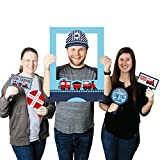 Big Dot of Happiness Railroad Party Crossing - Steam Train Birthday Party or Baby Shower Selfie Photo Booth Picture Frame & Props - Printed on Sturdy Material