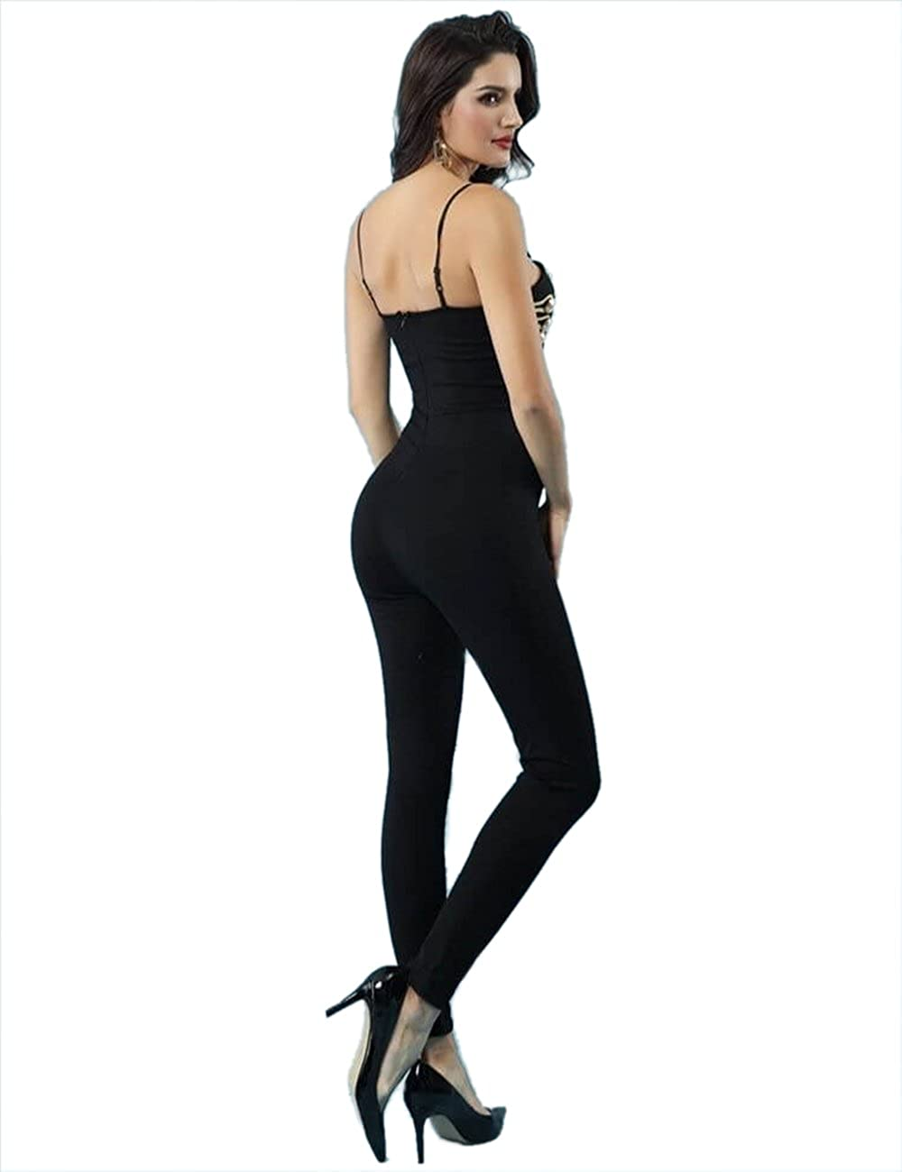 e8e20a2184b Amazon.com  VINKKE Women s Bandage Jumpsuit Clubwear Bodycon Spaghetti  Strap Romper Pants  Clothing