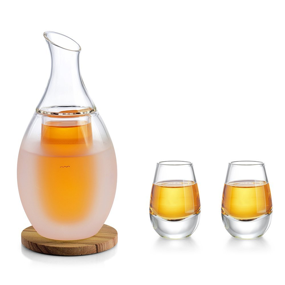ZENS | Borosilicate Glass Sake Set | Double Chambered for Keeping Liquid Warm or Cold | Includes Decanter & Sake Pot | 2 Double Wall Cups | Sandstone Coaster | Cotton Towel