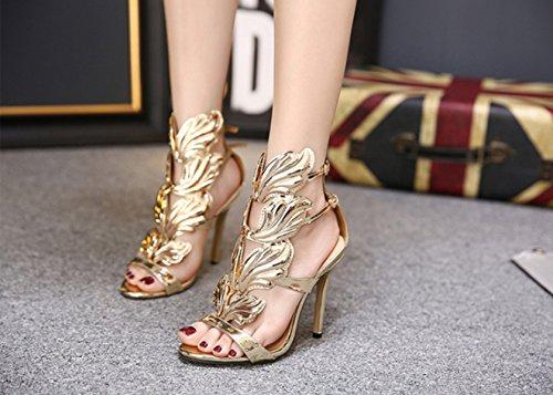 CHENCH Frauen 2017 Schuhe Mit Feinen Ferse Und Zehen Sandalen Gold