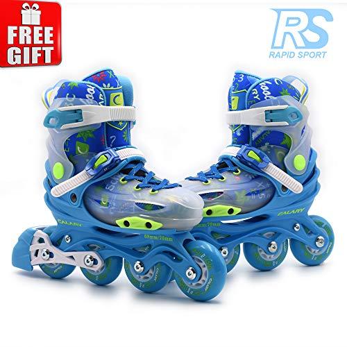 Rapid Sport Blue Transparent Boys Adjustable Inline Skates, Fun Rollerblades for Kids, Beginner Roller Skates for Girls, Men and Ladies (S)