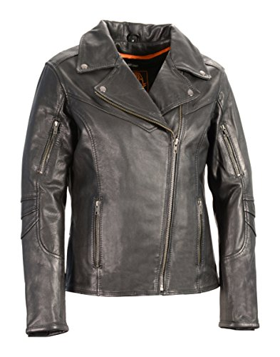 Milwaukee Leather Women's Vented Motorcycle Jacket (Black, Small)
