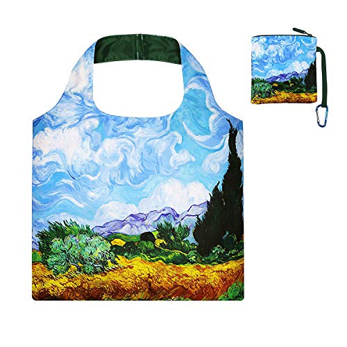 Large Reusable Shopping Bag with Top Zipper Closure,Foldable Shopping Tote Heavy Duty Reusable Grocery bag Zipper Pouch for Women and Travel in Cute Design Wheatfield with Cypressed (Reusable Bag Zipper Top)