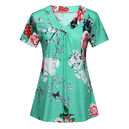 TUSANG Women Fashion Pleated Short Sleeve Button V Neck Casual Blouse Top Tunic Shirt (Green,US-8/CN-L)