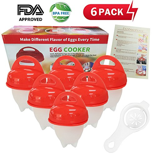 Egg Cooker Hard & Soft Maker and Separators, Poached Boiled Eggs Steamer, BPA Free, No Shell, Non Stick Silicone, AS SEEN ON TV, 6 Egg (Pop Shells)