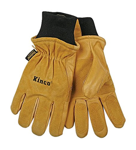 - KINCO 901-L Men's Pigskin Leather Ski Glove, Heat Keep Thermal Lining, Draylon Thread, Large, Golden