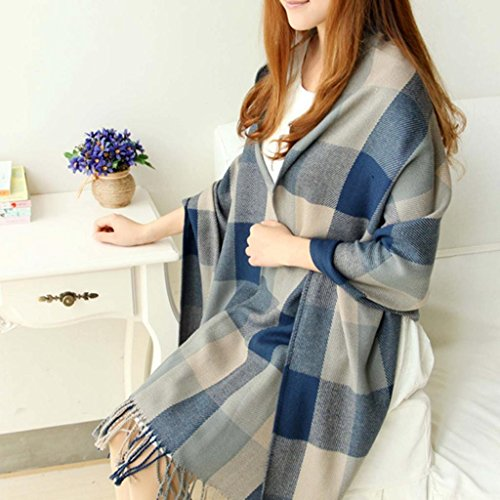 HuaYang Extra Long Warm Winter Imitation Cashmere Thicken Plaid Scarf Cappa Tippet Shawl(Blue_Grey)