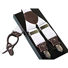Panegy Men's Leather Clip-on Suspenders 4 Clips Elastic Y-Shape Adjustable Braces - White