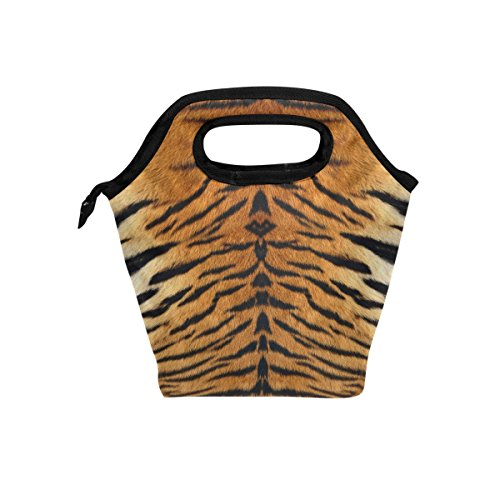 Tigers Zipper Top Handbag (Naanle Animal Print Insulated Zipper Lunch Bag Cooler Tote Bag for Adult Teens Kids Girls Boys Men Women, Tiger Print Lunch Boxes Lunchboxes Meal Prep Handbag for Outdoors School Office)