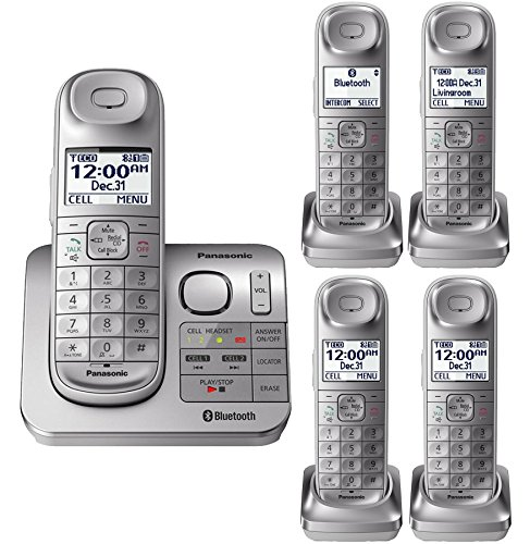 Panasonic KX-TGL463S Silver Expandable Digital Cordless Phone with 5 (Panasonic Silver Expandable Telephone)