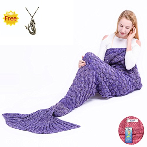 [SkySea Mermaid Tail Blanket with Scales, Knitted Soft Quilt and Warm Sleeping Bags for Adults] (Sit And Be Fit Costume)