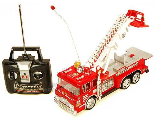 10 R/C Rescue Fire Engine Truck Remote Control Kids Toy with Extending Ladder & Lights