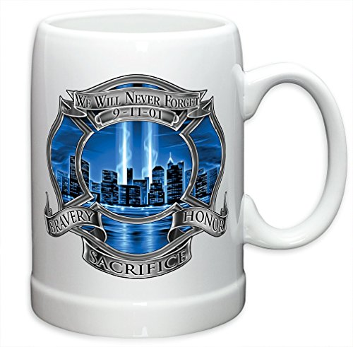 (German Beer Stein – Firefighter Gifts for Men or Women – 911 Firefighter Blue Skies Stoneware Beer Stein – Firefighters Beer Glasses with Logo - Set of 2 (20)