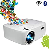 Projector, Smart Android WiFi Bluetooth Video Beam, by BeVision, 220 ANSI Lumen 180' Max for Movie Games, Quiet Fan, Built-in Speaker with HDMI VGA USB AV Ports