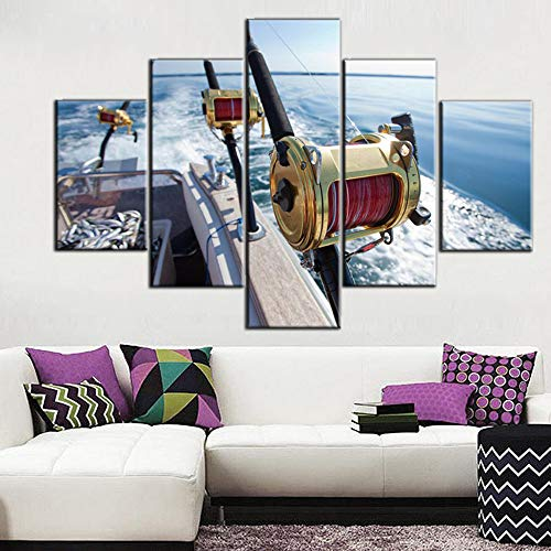 House Decorations Living Room Big Game Fishing Reel Paintings Blue Seascape Angling Pictures Contemporary Artwork 5 Panel Prints Wall Art on Canvas Framed Ready to Hang Posters and Prints(60''Wx40''H)