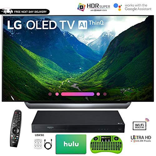 LG OLED65C8P 65″ C8 OLED 4K HDR AI Smart TV (2018 Model) with Bonus Hulu $100 Gift Card UBK90 UHD Blu-Ray Player Wireless Remote Keyboard and More – OLED65C8