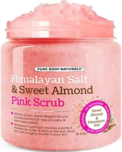 Body Scrub with Himalayan Salt, Deep Cleansing Exfoliator With Sweet Almond Oil & Lychee Oil, Moisturizes Nourishes Soothes & Promotes Glowing Radiant Skin, Body Wash - 12 fl.oz. by Pure Body Naturals