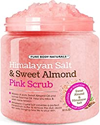 Pure Body Naturals Himalayan Scrub, Deep Cleansing Exfoliator with Sweet Almond & Lychee Oil, Moisturizes Nourishes Soothes & Promotes Glowing Radiant Skin, 12 fl.oz.