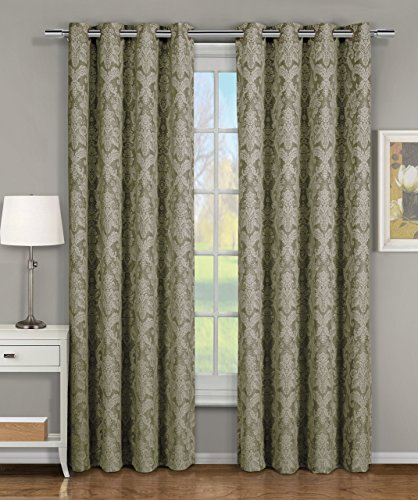 Blair Sage Top Grommet Jacquard Window Curtain Panel, Set of 2 Panels, 108x108 Inches Pair, by Royal ()
