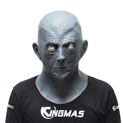 KINGMAS Old Man Elderly Bald Latex Mask, Halloween Terror Mask (Latex Masks Halloween)