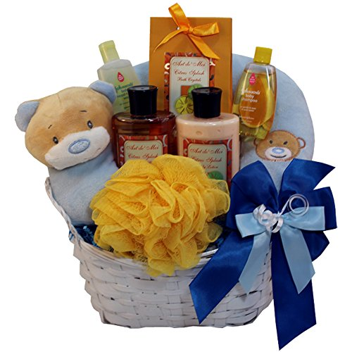 Art of Appreciation Gift Baskets Mommy and Baby Boy Bath Time Gift Basket Baby Citrus Basket