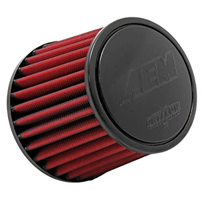 AEM 21-201DK Universal DryFlow Clamp-On Air Filter: Round Tapered; 2.5 in (64 mm) Flange ID; 5.125 in (130 mm) Height; 6 in (152 mm) Base; 5.125 in (130 mm) Top: Automotive