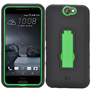Black Green HyBrid Rubber Kickstand Case Hard Cover For HTC Aero/One A9 with Free Pouch