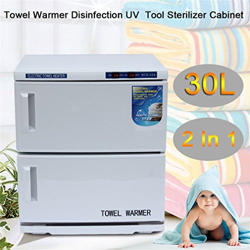 2 in 1 Disinfection High Temperature Sterilizer Sanitizer Cabinet Machine for Beauty Salon Spa Massage (30L)