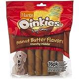 Hartz Oinkies Natural Smoked Pig Skin Twist Peanut Butter Stuffed Dog Treat Chews - 16 Pack - 3270015588