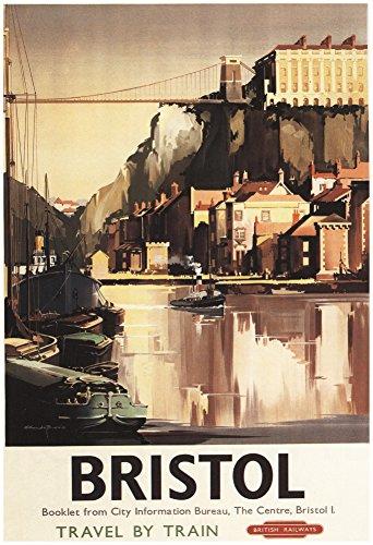 bristol-england-clifton-suspension-bridge-and-boats-british-rail-poster-13-x-19in