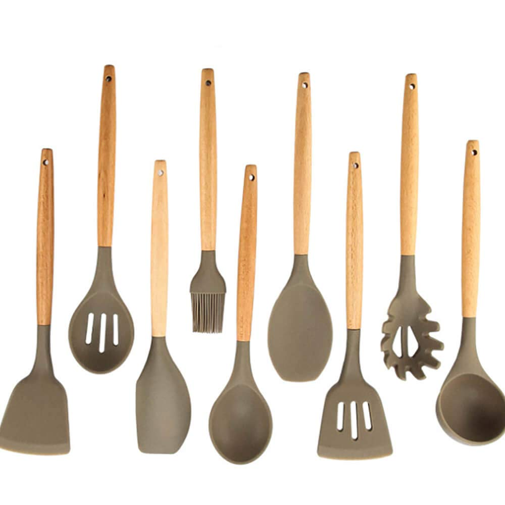 Silicone Kichen Utensils sets, ixaer 9Pcs Natural Wooden Silicone Kitchen Utensils Sets Kitchen Cookware Sets, Non-Stick Environmental Protection Silicone Kitchen Utensil Cooking Tools Set