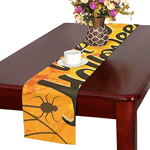 WHIOFE Creative Text Happy Halloween Hand Lettering Table Runner, Kitchen Dining Table Runner 16 X 72 Inch for Dinner Parties, Events, Decor ()
