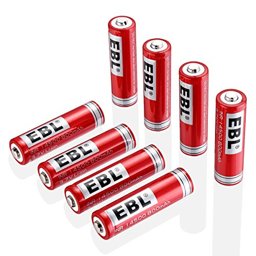 EBL 14500 Li-ion Rechargeable Batteries 3.7V 800mAh for LED Flashlight Torch, 8 Packs