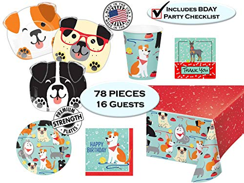 Puppy Dog Party Pups Birthday Party Supplies - Dog Themed Birthdays - Dog Shaped Dinner Plates, Dessert Plates, Napkins, Cups, Tablecover, Thank You Stickers & Birthday Checklist - Set for 16 guest - Made in the USA -