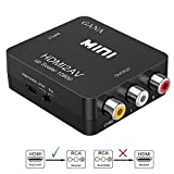 HDMI to RCA, GANA 1080P HDMI to 3RCA CVBS AV Composite Video Audio Converter Adapter Supports PAL/NTSC with USB Charge Cable for PC Laptop HDTV DVD(Black)