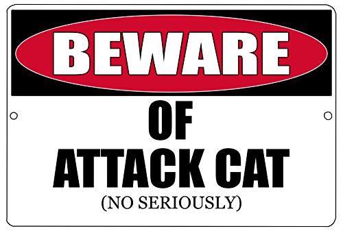 (Rogue River Tactical Funny Beware of Attack Cat Metal Tin Sign Kitten Kitchen Wall Decor Warning Sign )