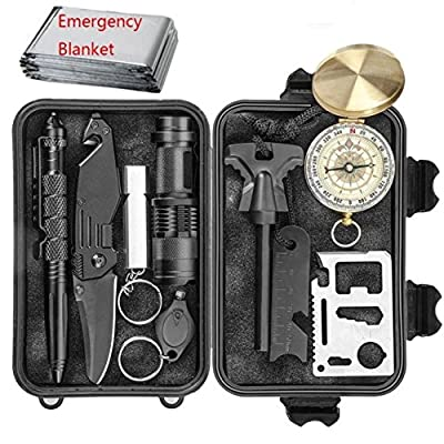 Professional Emergency Survival Kit 11 in 1 Outdoor Survival Gear Tool with Survival Bracelet, Folding Knife, Compass, Blanket, Fire Starter, Whistle, Tactical Pen Perfect for Camping, Hiking. by Dunamis