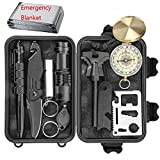 Professional Emergency Survival Kit 11 in 1 Outdoor Survival Gear Tool with Survival Bracelet, Folding Knife, Compass, Blanket, Fire Starter, Whistle, Tactical Pen Perfect for Camping, Hiking.