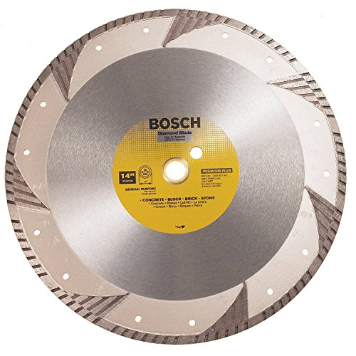 - Bosch DB1463 Premium Plus 14-Inch Dry or Wet Cutting Turbo Continuous Rim Diamond Saw Blade with 1-Inch Arbor for Masonry