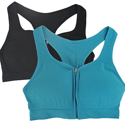 BollyQueena Women's Front Close Bra Motherhood Maternity Nursing Bra Black&Emerald Blue M 2pack