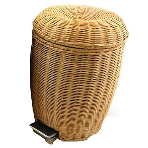 DMCE,Trash cans,Rattan Pedal Creative Retro Antique Chinese Style,Household with lid for Living Room Kitchen Bathroom Trash - 5l Bin Retro Pedal