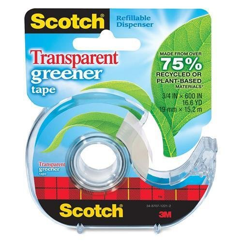 Non Yellowing Photo Safe Dispenser (39 Scotch Transparent Greener Tape - 0.75